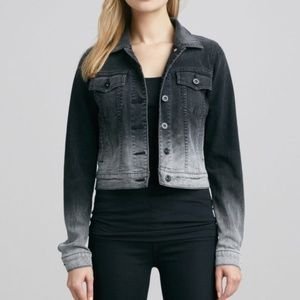 VINCE   Ombre Black + Gray Crop Jean Jacket Large
